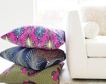 Designer Ankara Super Wax Cloth Pillow Cover Handmade Cobalt Blue Magenta Pink Lime Green Chocolate Brown Home Decor Decorator Fabrics