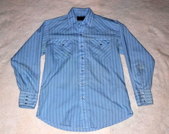 Vintage Panhandle Slim Western Shirt in Blue Stripes w/ Pearl Buttons, Country Western