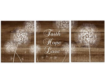 Delicieux Faith Hope Love Wall Art, Bible Verse CANVAS, Rustic Home Decor, Dandelion  Print