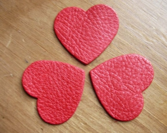 set of 3 small hearts red iridescent leather