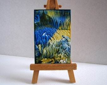 Blue, Yellow Miniature Original Encaustic Abstract Painting for Collectors / 1:12 Scale Dollhouse Art / SFA (Small Format Art)