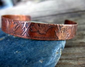 Copper Cuff Bracelet, Etched Copper Cuff, Daisy Pattern, Flower Texture, Oxidized Copper, Rustic Etched