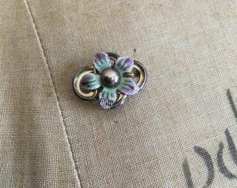 Broche Vintage des années 1950 argent émail Symmetalic fleurs des années 50