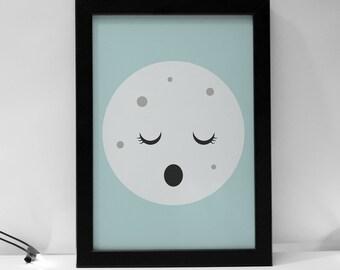 Sleepy Cute Moon Kids Prints Boys Girls Nursery Prints, Boys Girls Prints, Playroom, Kids Decor