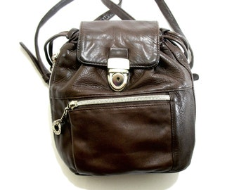 Vintage PERLINA Backpack Purse, Buttery Soft Leather, Brown, Small Backpack, Hobo, Silver Hardware, 1980's, Drawstring Closure, Excellent