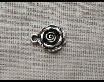 Set of 2: pendant, 14 mm silver plated flower charm