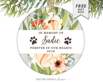 In Memory of Gift for Dogs, Forever In Our Hearts, Personalized Ornament Memorial Gift, Remembrance Christmas Ornament Sympathy Gift for Pet