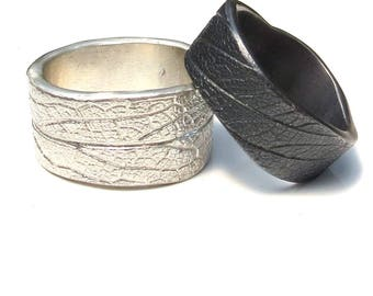 Unisex silver ring, silver, leaf surface. Minimalist, unique, nature jewellery. Wedding. Man/Men's or women's
