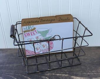 Large Recipe Box, Metal Basket, Metal Recipe Box, Rustic, Cake, Pink & Aqua