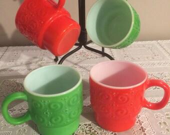 Vintage red and green Christmas mugs set of 4