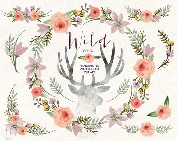 Watercolor Floral Wreath Flowers Peony Antlers Deer