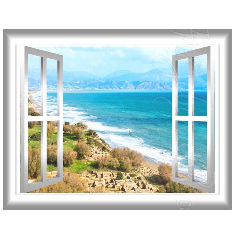 Beach Landscape View 3d Wall Mural Sticker Window Frame Scene