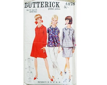 "Vintage 60's Butterick 4478 Maternity Top Blouse Shirt Dress and Skirt Sewing Pattern Size Bust 34"" UK 12"