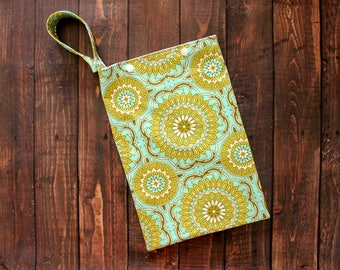 Cloth Pad Storage Bag Medium Hanging Wet Bag Lime Medallions Cloth Pad Storage Cotton/Nylon Washable Reusable