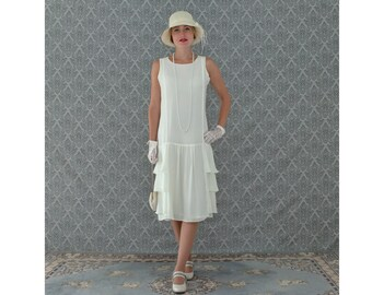 A darling 1920s-inspired dress in cream with tiered skirt, Roaring 20s fashion, Great Gatsby dress, 1920s flapper dress, Downton Abbey dress