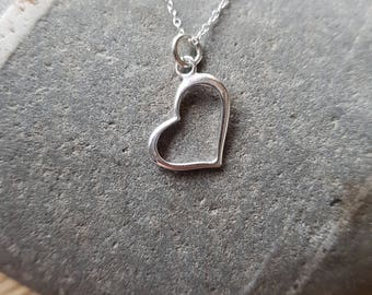 Heart Sterling Silver Necklace, Heart Necklace, Heart Pendant, Silver Heart Pendant, Birthday gift, Birthday present,
