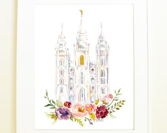Salt Lake City LDS Temple Watercolor (SLC, Utah), SLC temple