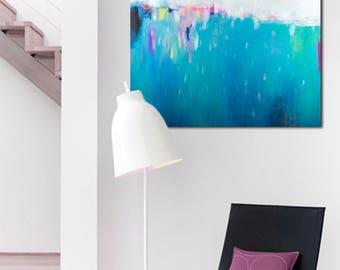 Blue wall decor, abstract painting, original modern art, large wall art by Camilo Mattis