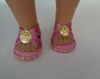 "Pink Sparkle sandals-- 18"" Doll Sandals-Shown on my american girl doll"