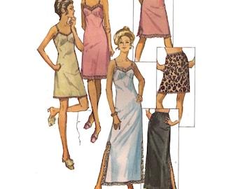 "Simplicity 9115, 70s sewing pattern, size 12 bust 34"" waist 25"", women's slip and half slip pattern, vintage lingerie pattern"