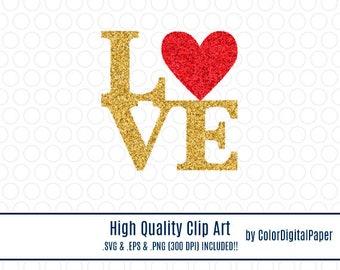 Clipart Gold Glitter Love Font Svg, Commercial Use, Glitter Clipart, Glitter Clip Art, Love Vector Clipart, Love Clip Art