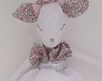 Decoration doll in white linen and liberty japonnais