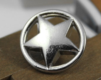 Metal Buttons - Ring Star Metal Buttons , Silver Color , Shank , 0.59 inch , 10 pcs