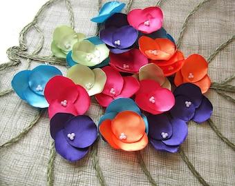 Hydrangea Blossoms-Handmade satin sew on flower appliques (25 pcs)- RAINBOW DROPS (Amethyst- Hot Orange- Lime Margarita- Fuchsia- Turquoise)
