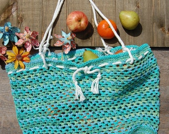 Spring Crochet Market Bag | Crochet Beach Bag |  | Handmade Bag | Cotton Tote