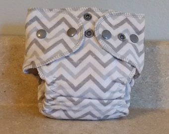 Fitted Preemie Newborn Cloth Diaper- 4 to 9 pounds- Gray Chevrons- 16024