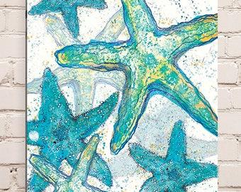 Wood Mounted Starfish Print