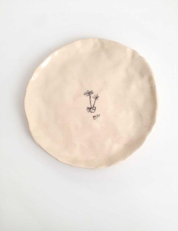 Hand Painted Ceramic Cactus Plate 2