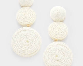 Thread Dome Double Thread Disc Link Earrings - Ivory