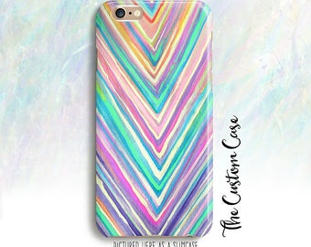 Chevron Watercolor Phone Case, Chevron in Pink and Mint Case,  Iphone 6/6+/7/7PLUS, Galaxy S5/S6/S6 Edge/S7/S8/S8 PLUS, Note 4/5