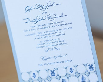 Dutch Delft Windmill Wedding Invitation