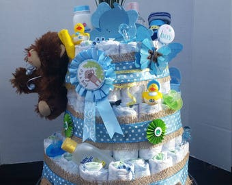 Diaper Cake Blue and Green