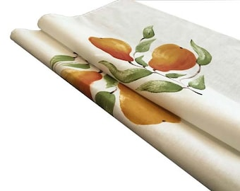 Tea towel, pears, linen/ cotton, hand painted