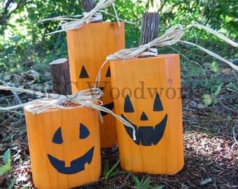 Wood Pumpkins, Wood Jackolanterns, Fall Decor, Halloween Decor, Mountain Laurel, Rustic Pumpkin, Primitive Pumpkin, Thanksgiving Decor
