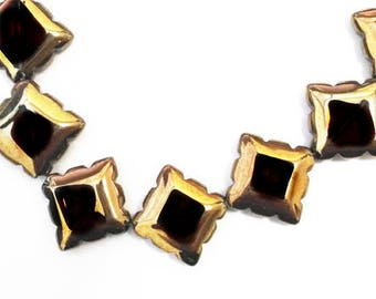 8pc 17mm copper plated  square shape glass beads-9156