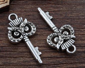 Owl Skeleton Key Charms (Qty of 10)