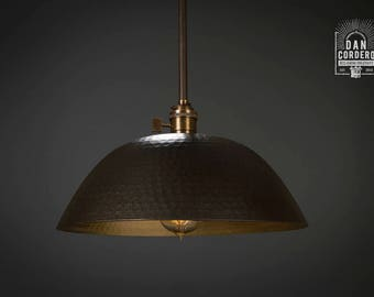 Hammered Shade | Gold & Oil Rubbed Bronze l Pendant Light Fixture | Kitchen Light | Light Fixture | Pendant Light | Large Hammered