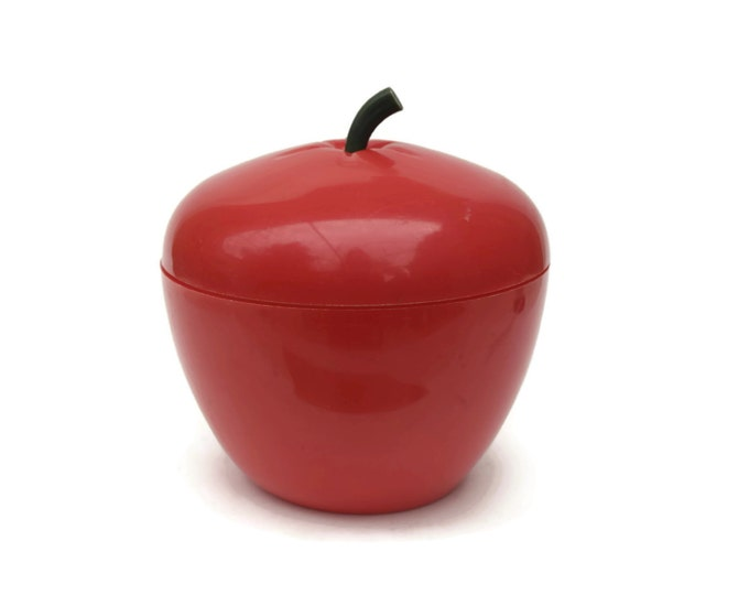 French Vintage Red Apple Ice Bucket. 1970s Ice Bucket. Retro Barware. Red Plastic Ice Bucket. Giant Red Apple Plastic Fruit.