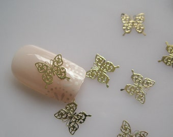 No.13 MS244-2 100pcs Nail art Gold Butterfly Deco Metal Sticker Nail Art Deco