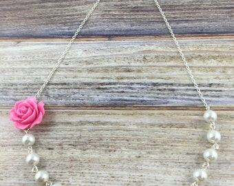 Asymmetrical Pink Flower Necklace, Wire Wrapped Rose Necklace, Pink and White Jewelry, White Pearl Necklace, Off-Center Rose Necklace