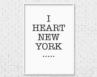 American Typewriter Print   Instant Download New York City Loft Apartment I  Love NY Heart Black