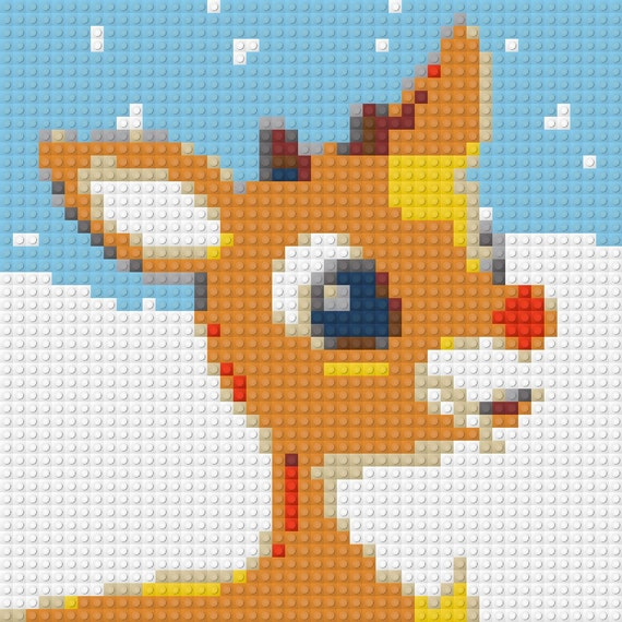 LEGO Custom Art Mosaic Rudolph the Red-Nosed Reindeer