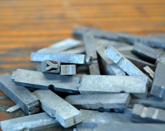 One quarter pound assorted metal letterpress type - Vintage letterpress metal type collection