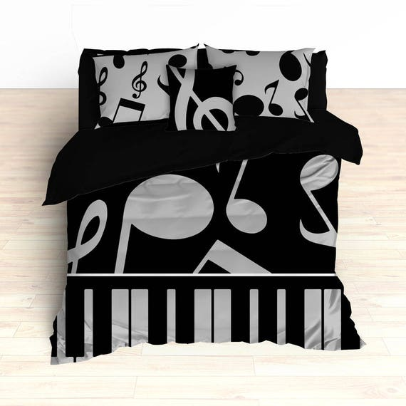 Piano Musical Note Bedding by 2CoolDesignsInc