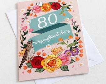 80th Birthday Card  - Large A5 - Female Birthday Card - Happy 80th Birthday - 80 - 80th Card