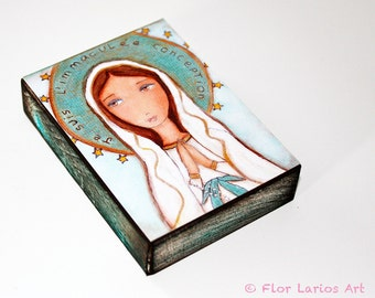Je Suis L'immaculee Conception - ACEO Giclee print mounted on Wood (2.5 x 3.5 inches) Folk Art  by FLOR LARIOS